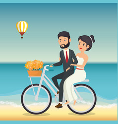 Just married couple in the beach with bicycle vector