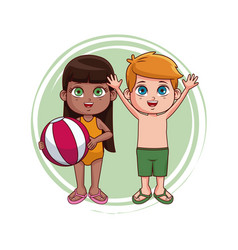 kids at summer with swim suit vector image