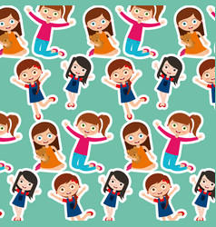 Kids girls cartoon vector