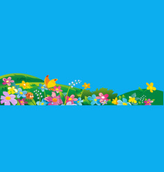 Ladybird and butterfly nature field with green vector