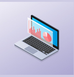 laptop isometric with elements data and statistics vector image