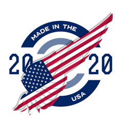 made in the usa badge with usa flag elements vector image