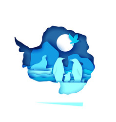 mainland antarctica map with wildlife vector image