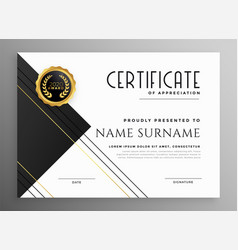 Modern black white and gold certificate template vector
