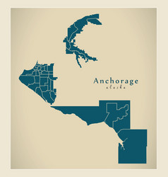 Modern city map - anchorage alaska city of the vector
