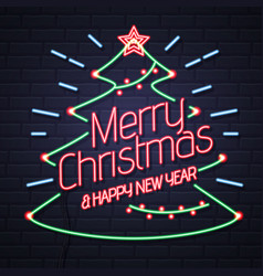 Neon sign merry christmas and happy new year vector