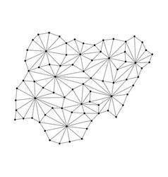 Nigeria map of polygonal mosaic lines network vector