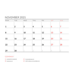 November 2021 monthly calendar planner printable vector