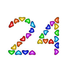 Number 24 twenty four of colorful hearts on white vector