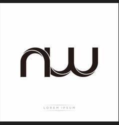 Nw initial letter split lowercase modern monogram vector