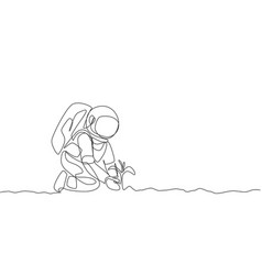 One continuous line drawing spaceman planting vector