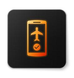 Orange glowing flight mode in mobile phone vector