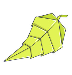 origami leaf icon cartoon style vector image