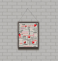 painting on a brick wall Valentines Day vector image
