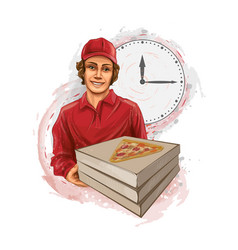 pizza delivery man holding a cardboard box with a vector image
