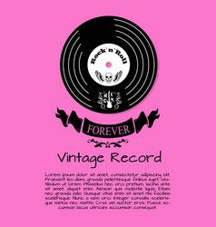 Rock and roll forever vintage record poster vector