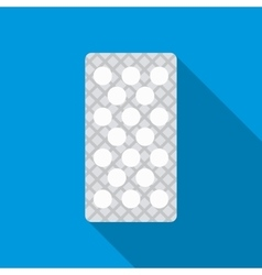 Round pills in a blister pack icon flat style vector image