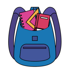 School bag supply with books and rule vector