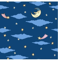 Seamless pattern made from night sky with stars vector
