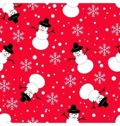 Seamless pattern Snowman on a red background vector image
