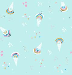 seamless summer pattern with ice cream rainbows vector image