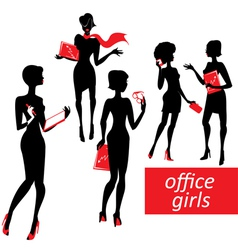 Set fashionable business girls silhouettes on a vector