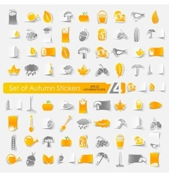 Set of autumn stickers vector image