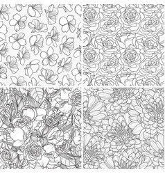 set of decorative hand-drawn seamless vector image