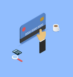 Shopping with credit card isometric vector