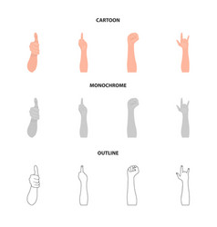 sign language cartoonoutlinemonochrome icons in vector image