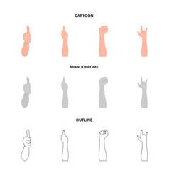 Sign language cartoonoutlinemonochrome icons in vector