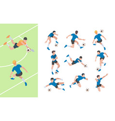 soccer characters isometric athletics persons vector image