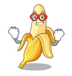 Super hero character banana in the fruit market vector