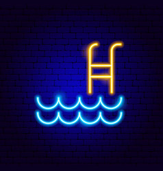 swimming pool neon sign vector image