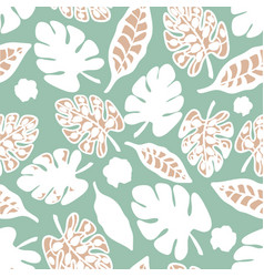 Teal white print tropical floral pattern vector