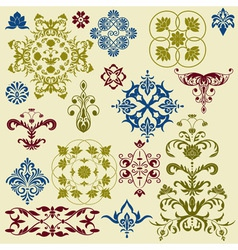 Vintage floral bright design elements vector