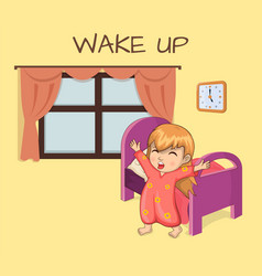 Wake up poster sleepy girl vector