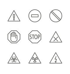 warning set icon line caution symbol isola vector image