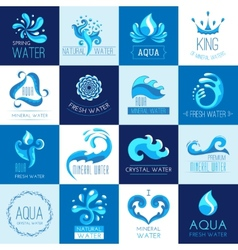 Water Emblems Set vector image