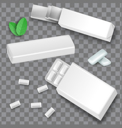 white blank bubble gum package mockup set green vector image