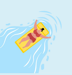 woman swimming at the pool vector image