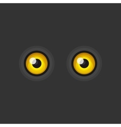 Yellow Cartoon Eyes on Dark Background vector image