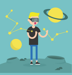 young boy wearing virtual reality glasses vector image