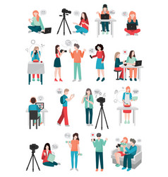 Blogger human characters collection vector