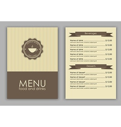 Design a menu for coffee vector image