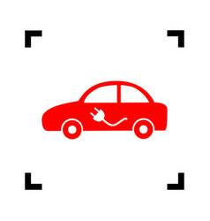 electric car sign red icon inside black vector image