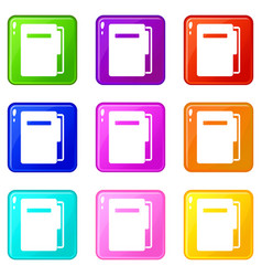 file folder icons 9 set vector image vector image