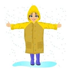 little girl in yellow raincoat in the rain vector image vector image