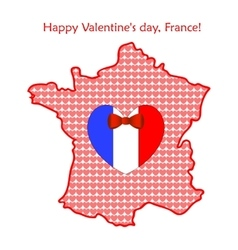 Map of France with flags and hearts vector image