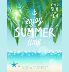 tropical beach poster enjoy summer vector image vector image